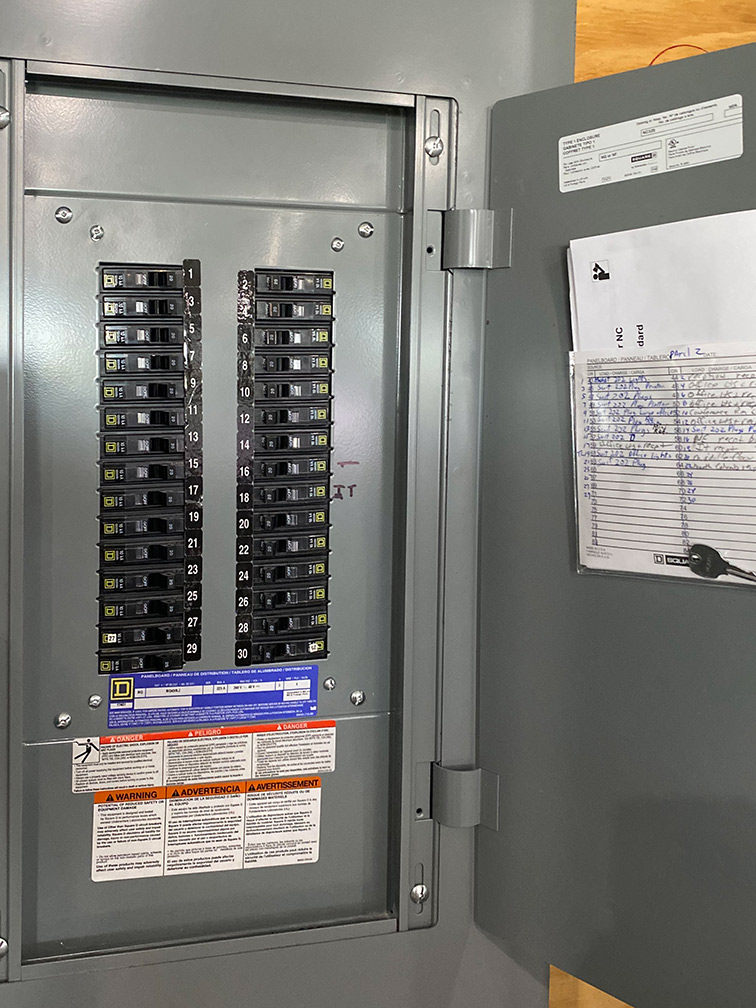 Commercial Electrical Panel installed by Maedgen Construction electrical contractor