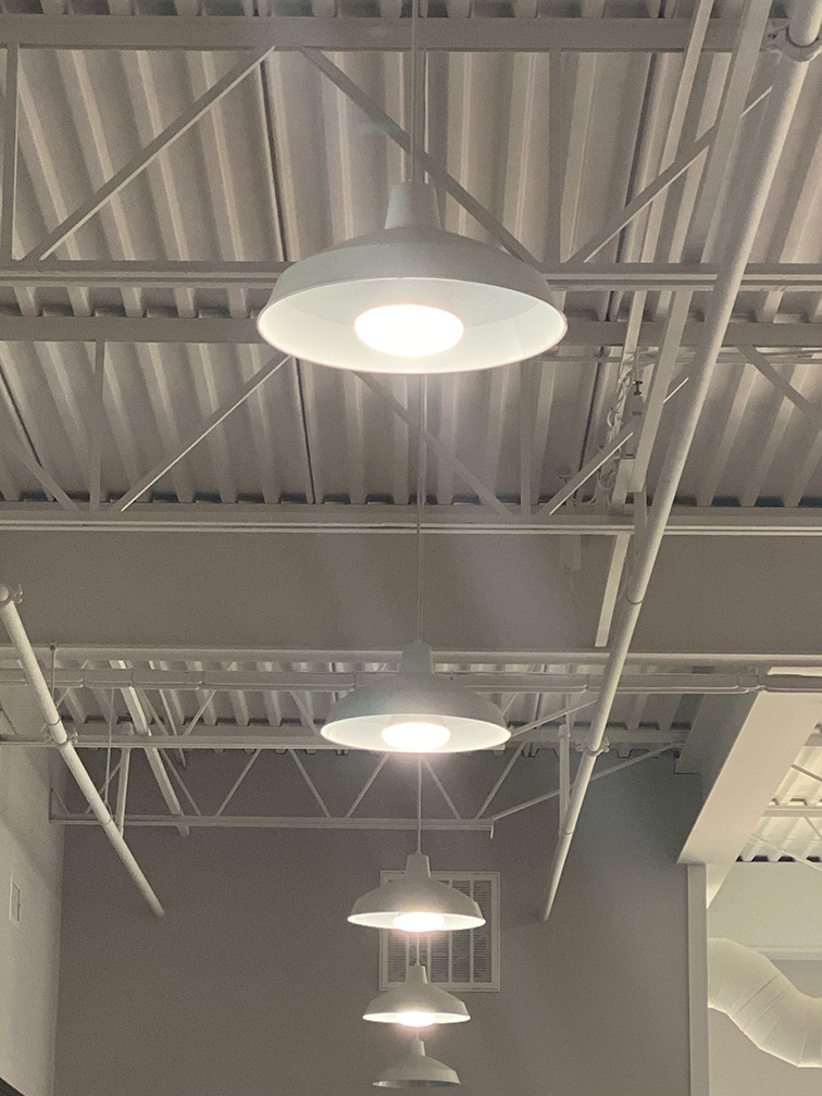 Commercial lighting wired and installed by Maedgen Construction